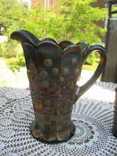 "#24 Northwood Carnival glass Raspberry pattern  pitcher  Amethyst 9""inches tall"