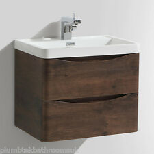 600mm Designer Chestnut Bathroom Wall Hung Vanity Unit Furniture Basin