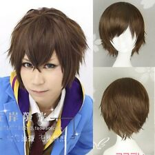 New Fashion Anime Wig Cool Men Cosplay Party Short Brown Hair Full Wigs