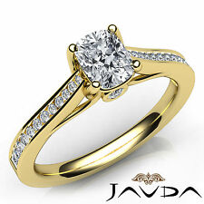 Channel Set Cushion Cut Diamond Engagement Ring GIA E VS1 18k Yellow Gold 0.92Ct