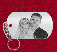 Laser Engraved Picture Keychain Gift, Personalized FREE Photo on Steel, LOVE