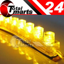 4x 24cm 24 LED Car Flexible Strip Light Bulb Neon Waterproof  Yellow / Amber