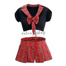 Lad Naughty School Girl Fancy Dress Role Play Costume Uniform Women's Outfit Set