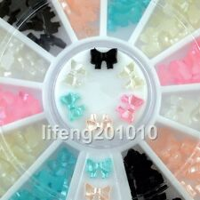6 colors beauty 3d bow tie wheel acrylic nail art glitter decoration tools NEW