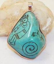 GORGEOUS~HAND ETCHED~TURQUOISE~COPPER~KOKOPELLI~PENDANT~BY FRANCISCO GOMEZ