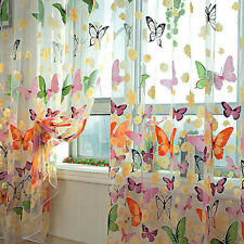 Butterfly Sheers Curtains Voile Tulle Floral Window Door Curtain Scarf Valance