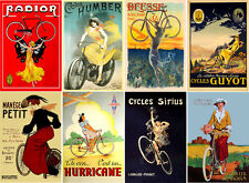 "Stickers (8 pics 2.5""x3.5"" each) Vintage Sport Poster Bike Cycle FLONZ 441-0208"
