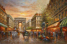 Oil painting impressionism Paris street scene with carriage and Triumphal arch