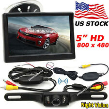 "Car Rear View Kit 5"" HD LCD Monitor + License Plate Wireless IR Backup Camera"