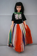 teenage Barbie clone doll black hair bangs cat eyes 60's