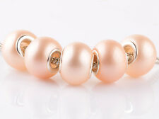 NEW 5pcs silver pearl apricot spacer beads fit Charm European Bracelet DIY HH925