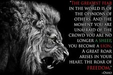 Osho Quotes - Lion Inspirational Motivational Art Silk Poster 24x36inch