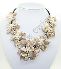 "new bride jewelry mother of pearl shell flower necklace 18""long"