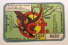 OCT. Monthly 1948 WINNIPEG ELECTRIC Canada transit bus ticket pass HALLOWEEN OWL