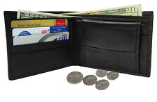 Black Men's Genuine Leather Soft Plain Credit Card  Bifold Wallet Coin Pocket