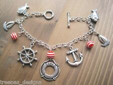 *NAUTICAL LIFE RING RED STRIPE CHARM SP BRACELET* Anchor Wheel Fish Sailor Gift