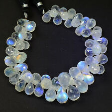266.30CT Large Rainbow Moonstone Faceted Teardrop Briolette Bead 8 inch strand