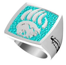 NATIVE BEAR CLAW SYMBOL STAINLESS STEEL RING size 8 silver metal S-514 NEW bears