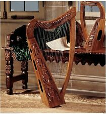 UNIQUE MEDIEVAL CELTIC ROSEWOOD HAND CARVED 22 STRING HARP HOME DECOR NEW