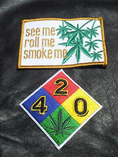 Marijuana Pot Leaf see roll smoke me  420 2pc embroidered patch