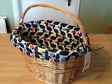 Orla Kiely Lined Wicker Bike Basket Shopping Bicycle Bag Designed Lined New