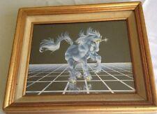 VINTAGE FRAMED UNICORN PICTURE - SUE DAWE 1982 - Gold Frame