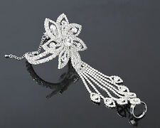 Fashion Women's Jewelry Silver Flower Cuff Bangle Wrap Bracelet with Ring