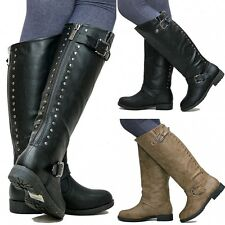 New Women TDh1 Black Khaki Studded Riding Knee High Boots sz 5 to 10