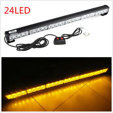 12V 24LED Amber Car SUV Off-Road Pickup Roof Emergency Hazard Strobe Light Strip