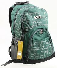 JEEP BACKPACK COLLEGE SCHOOL RUCKSACK TRAVEL HIKING GYM CABIN LAPTOP BAG - GREEN