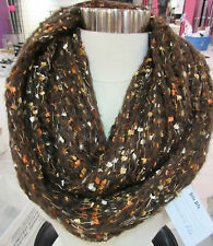 Cable Knit Scarf Infinity Brown Speckled Peach Long Wide Circle Warm NWT DC714