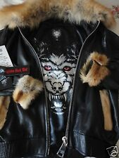 AVIATOR LEATHER BOMBER WOLF JACKET SKELETON ULTRA MASTERPIECE FUR MEN,RUBY,XL