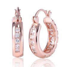 18k rose gold filled round brilliant white 2mm Topaz hoop hook wedding earring
