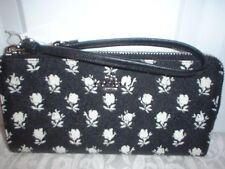 NWT Coach Crossgrain Leather Zip Wallet Black Parchment Badlands Floral 52974
