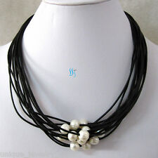 "18"" 8-10mm White 14Row Freshwater Pearl Necklace 1.5mm Black Leather"