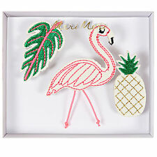 Flamingo Brooches Set of 3 Fabric Pins Badges Gift Jewellery Pineapple Tropical