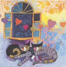 4 Servietten - Rosina Wachtmeister - Flying Hearts - Katze - cat