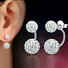 1 Pair Women Lady Jewelry Silver Double Beaded Rhinestone Crystal Stud Earrings