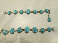 Antique Egyptian Revival Carved Silver Scarab Bracelets