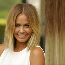 THICK BALAYAGE OMBRE CLIP IN REMY HUMAN HAIR EXTENSIONS BROWN BLONDE 10/613