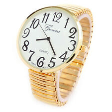 Gold Super Size Case Easy to Read Stretch Band Women's Watch