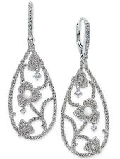 ELIOT DANORI by Nadri Silver-Tone Imitation Pearl Pavé Floral Drop Earrings $95