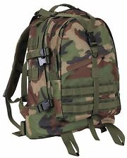 "Woodland Camouflage Large Transport Pack Backpack - Camo 19"" MOLLE Tactical Bag"