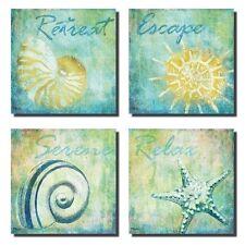 """New 4 Retreat Escape Relax Beach Ocean Sea Shells Wall Decor Art Prints 12""""x12"""""""