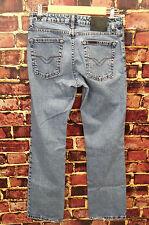 Harley Davidson Vintage Blue Denim Distressed Light Wash Jeans Size 6 Bootcut