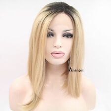 Blonde Bob Lace Front Wig Straight Heat Resistant Synthetic Black Roots Hair