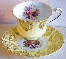 Paragon Cup and Saucer Yellow w Rose Fruit Centers Gold Gilt Garland Excellent