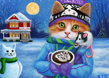 Kitten cat mouse hot chocolate winter snow moon Christmas OE ACEO print art