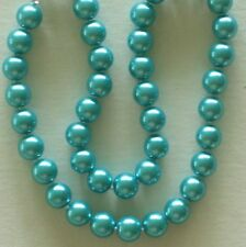 10MM Medium Blue AAA South Sea Shell Pearl Necklace NEW (in a silk gift bag)