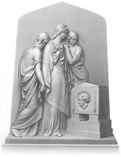 3 WOMEN GIRLS SISTERS PRAY at TOMB of DEAD FATHER ~ Old 1859 Art Print Engraving